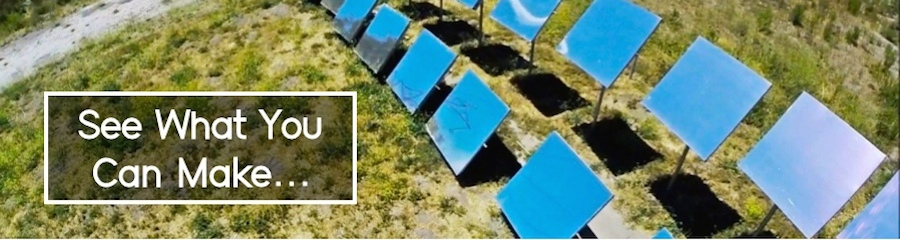Arial view of LightManufacturing heliostat array - H1 heliostats provide intense heat and light for industrial and architectural applications. Melt plastic, heat water, warm homes, light atriums, more - powerful, sustainable solar heat and light.